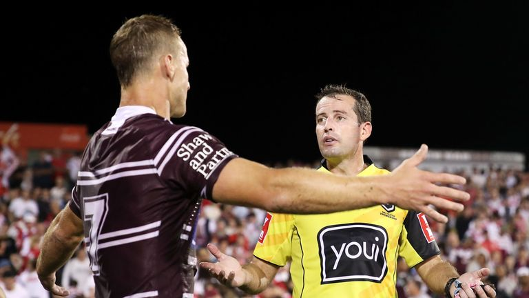 Daly Cherry-Evans of the Sea Eagles shows his frustration as he speaks to referee Dave Munro