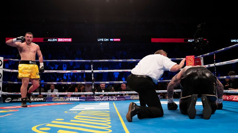 Lucas Browne is unable to make it to his feet after being caught by a left-hook
