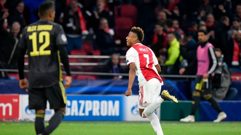 David Neres celebrates scoring for Ajax against Juventus