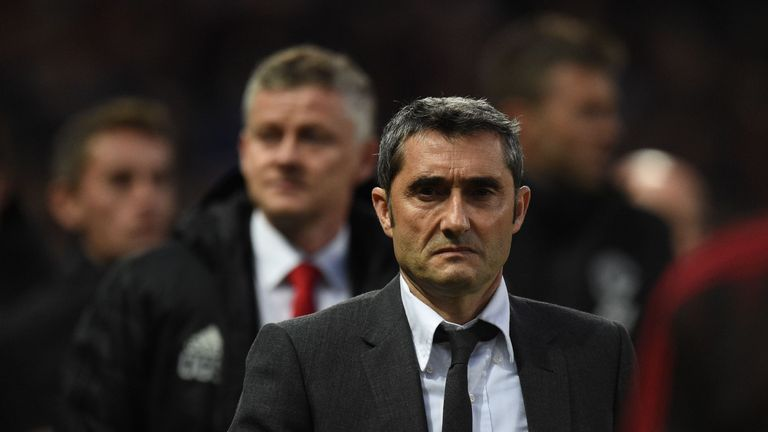 Ernesto Valverde leads Barcelona into their Champions League quarter-final second leg against Manchester United at the Nou Camp on Tuesday