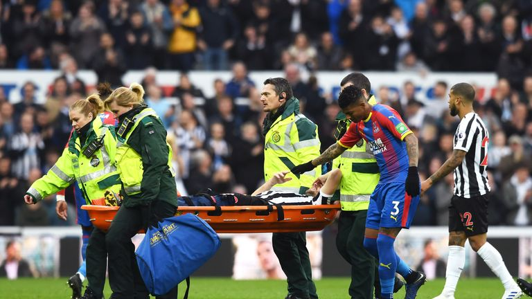 Lejeune was carried off a stretcher after suffering the injury against Crystal Palace on Saturday
