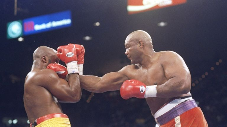George Foreman beats Michael Moorer to claim the heavyweight title he had last held 20 years before