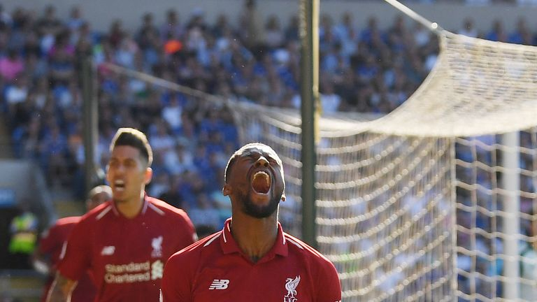 Gini Wijnaldum celebrated his third Premier League goal of the season against Cardiff