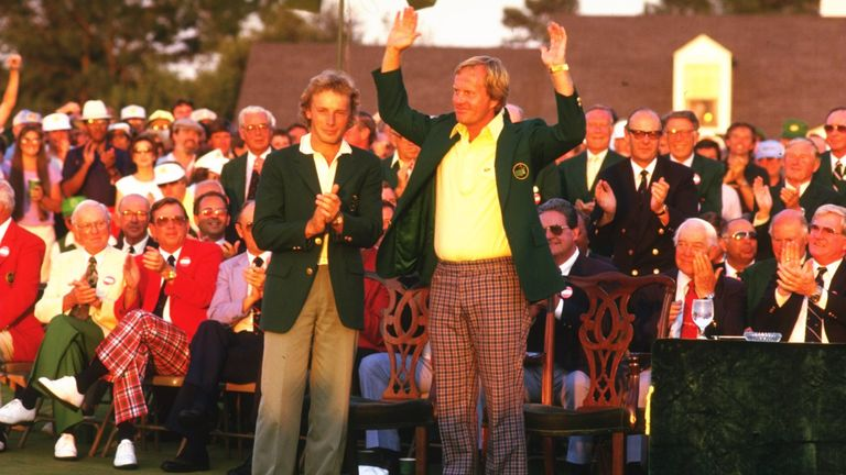 Jack Nicklaus dons the Green Jacket for the sixth and final time in 1986