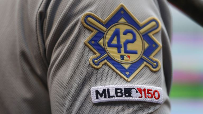 A detail honouring Robinson on the uniform of a Baltimore Orioles player