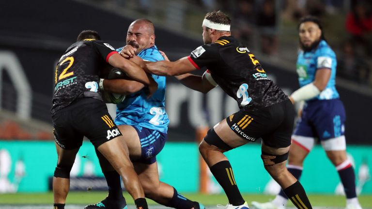 Karl Tuinukuafe carries into contact for the Blues