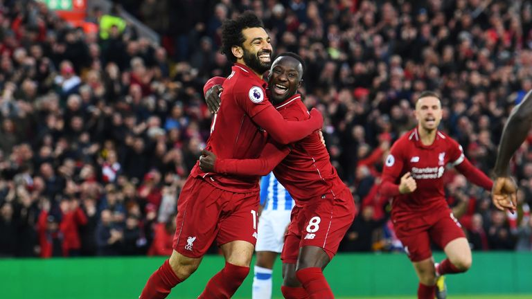 Liverpool celebrate Naby Keita's early opening goal against Huddersfield