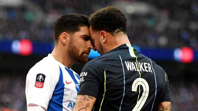 Kyle Walker escaped a red card against Brighton in the FA Cup semi-final