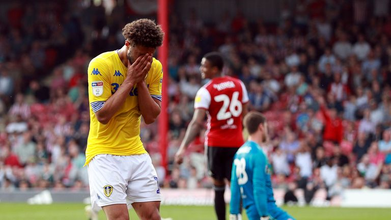 Leeds' Tyler Roberts reacts after a missed chance