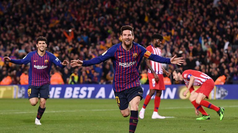 Lionel Messi celebrated his 33rd league goal of the season against Atletico Madrid