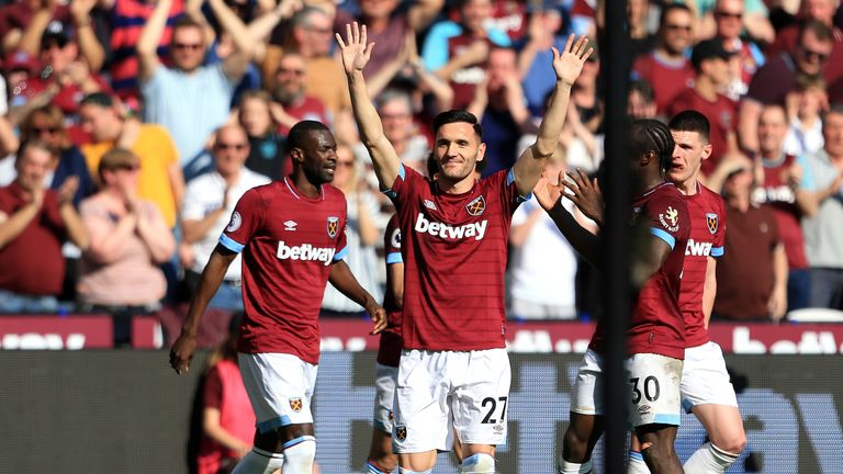 Lucas Perez restored West Ham's lead at home to Leicester - but they could not hold on