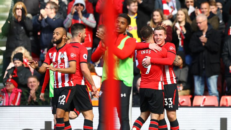Targett celebrates with team-mate Danny Ings after heading Saints ahead