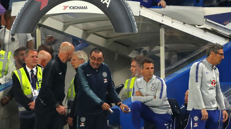 Zola took media duties after the game as Sarri's emotions ran high