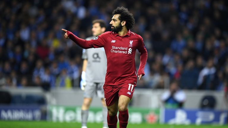 Mohamed Salah celebrates scoring Liverpool's second goal