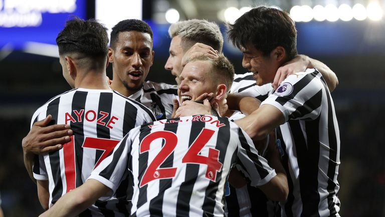 Newcastle celebrate taking the lead