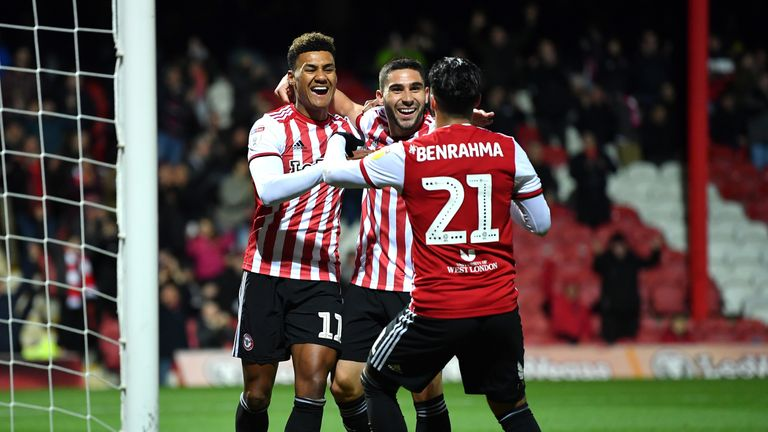 Oliver Watkins celebrates scoring for Brentford against Ipswich
