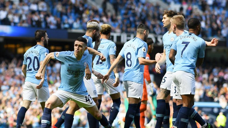 Phil Foden celebrates after scoring the only goal of the game for City
