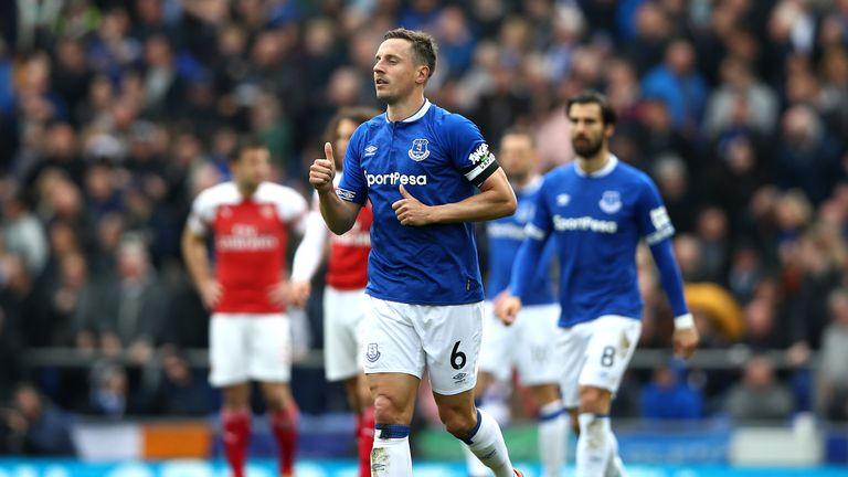 Phil Jagielka of Everton celebrates after scoring