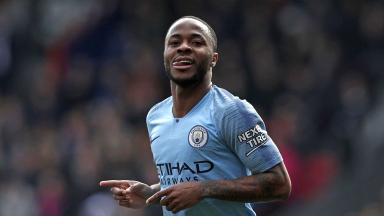 Raheem Sterling helped Manchester City to consecutive Premier League titles with victory over Brighton on Sunday