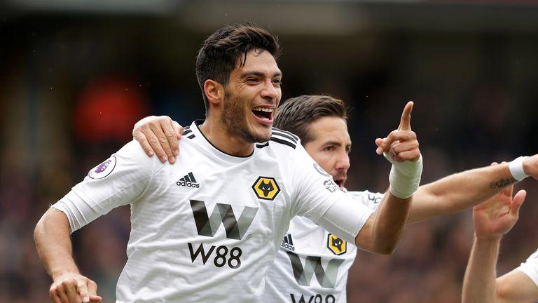 Raul Jimenez celebrates giving Wolves a 1-0 lead
