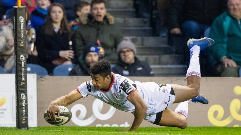 Robert Baloucoune of Ulster goes over to score his side's second try