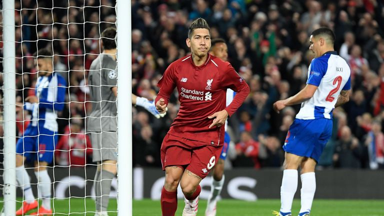 Roberto Firmino scored Liverpool's second in the first leg