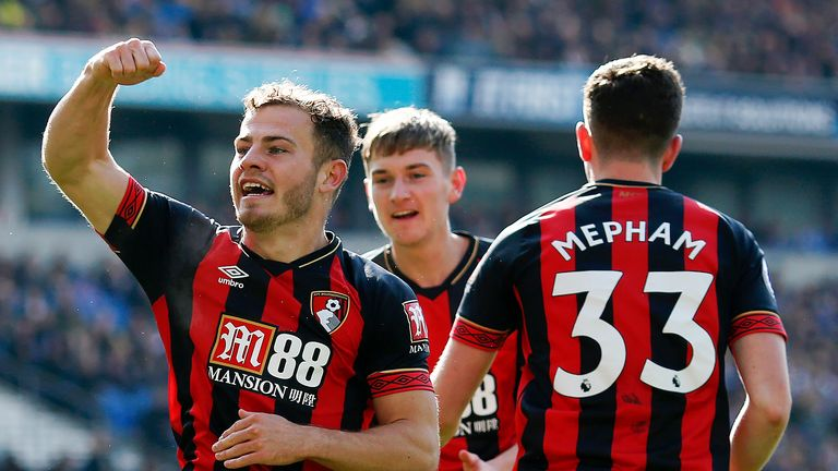 Ryan Fraser (No 10) registered a goal and assist in Bournemouth's 5-0 goal fest at Brighton