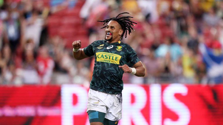 Selvyn Davids of South Africa celebrates winning