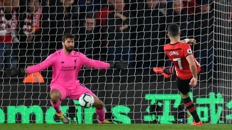 Shane Long put Southampton ahead with a close-range finish