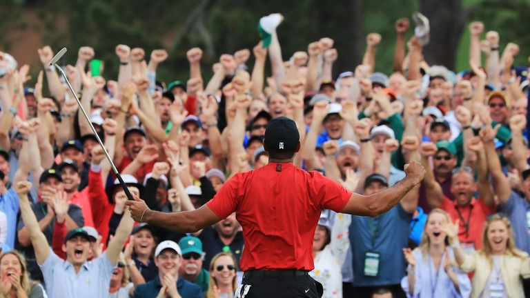 Huge roars ring around Augusta after Woods sank the winning putt