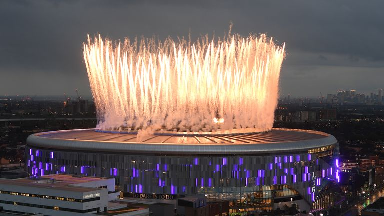 Fireworks explode above the new Tottenham Hotspur Stadium during the opening ceremony