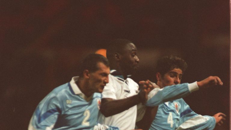Andy Cole made his England debut against Uruguay in March 1995