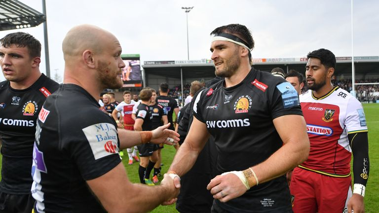 Don Armand (right) was one of six Exeter try scorers in the win