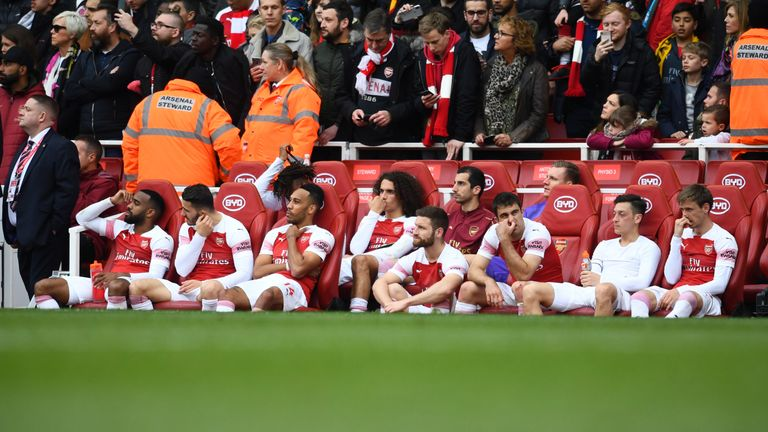 Some of Arsenal's regulars sat despondently following their draw to Brighton, which came close to ending their top-four hopes