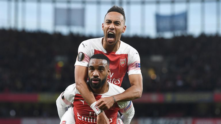 Aubameyang and Lacazette have scored a combined 50 goals in all competitions so far this season