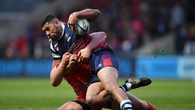 Charles Piutau got Bristol's first try of the match against Sale