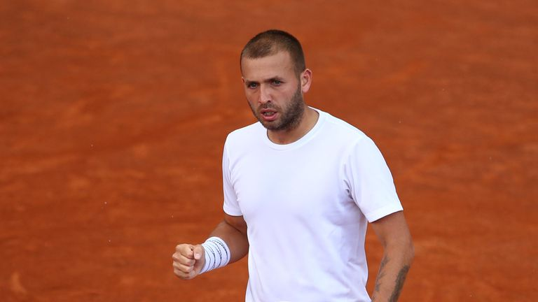 Dan Evans won both his qualifying matches without losing a set in Rome
