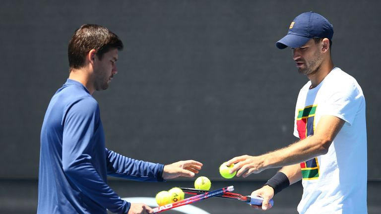 Dani Vallverdu (L) and Grigor Dimitrov have called time on their partnership