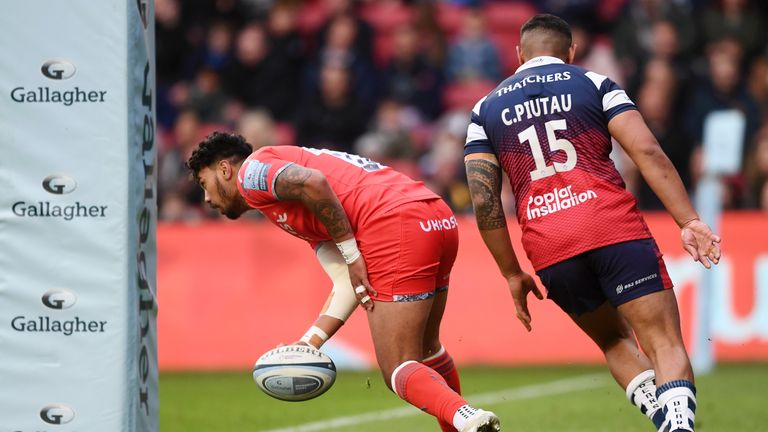 Denny Solomona was among the try-scorers for Sale away to Bristol