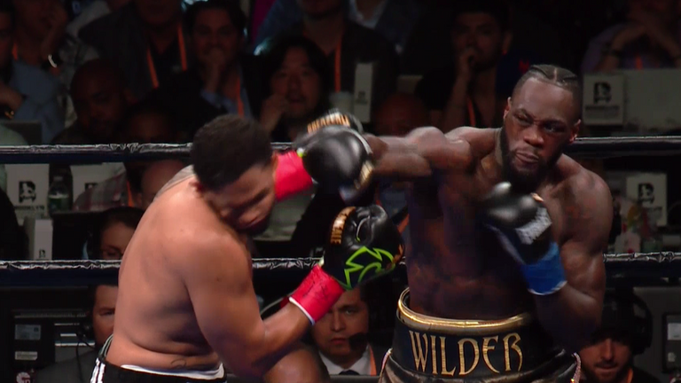 Wilder lands a huge right hand to end Breazeale's title challenge in the first round