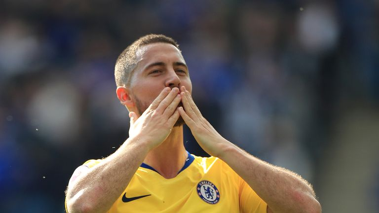 Chelsea's Eden Hazard blows kisses to the club's fans after the draw with Leicester