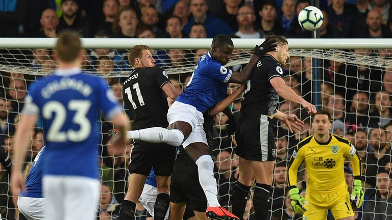 Kurt Zouma challenges for a header at Goodison Park