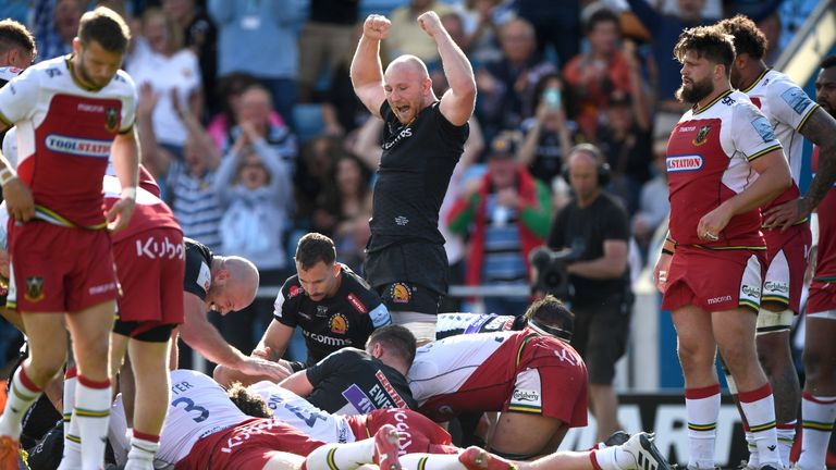 Two tries in the opening seven minutes of the second half saw Exeter take the game away from the Saints