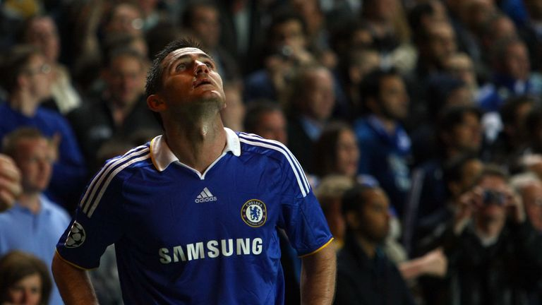 Frank Lampard looks to the skies as Chelsea were knocked out to Barcelona