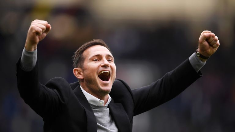 Frank Lampard celebrates Derby's 3-1 win over West Brom