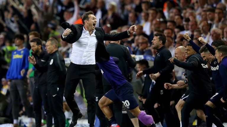 Frank Lampard celebrates leading Derby to the Championship play-off final