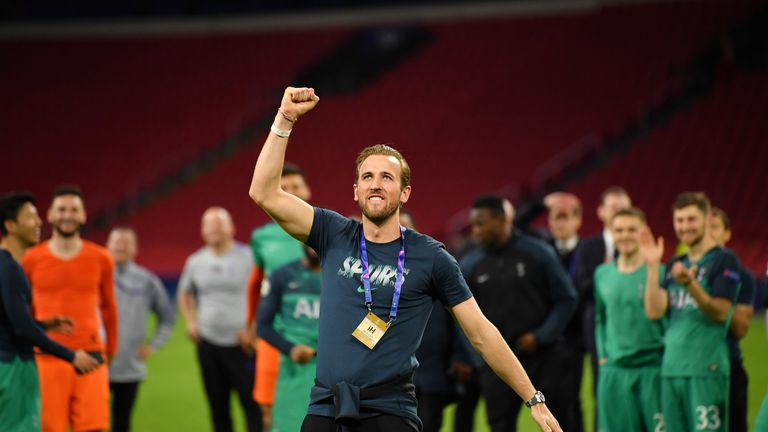 Harry Kane celebrated on the pitch after the full-time whistle