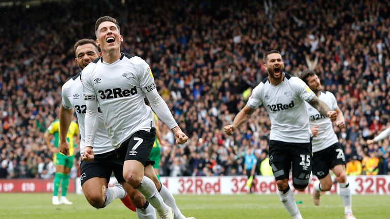 Derby County's Harry Wilson celebrates scoring his side's third goal of the game from a penalty