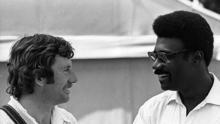 Ian Chappell, pictured with West Indies captain Clive Lloyd in 1975