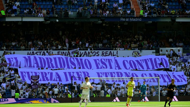 Real Madrid fans unfurled a huge banner saying 'Madrid fans are with you. Stay strong, eternal captain'